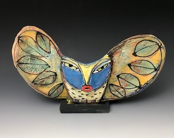 """Clay Owl sculpture / Owl Figurine, whimsical owl art, ceramic owl art, """"Owl Woman Singing to the Forest"""", 9-5/8"""" wide"""