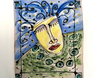 "Clay slab wall hanging painting with underglaze fired ceramic color. 5.25"" wide x 6.25"" tall. ""Dreaming Into Being"""