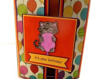 Gate fold Birthday Card, Cat Birthday Card, It's Your Birthday, Cat and Balloon, Purple, Orange, Yellow Birthday Card, Cat Lover Card