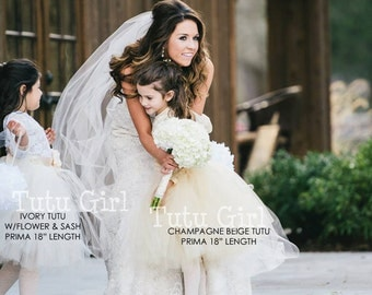Champagne Tutu Flower Girl, Wedding Tulle Skirt - All Lengths and Sizes