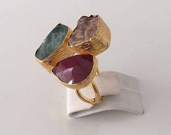 Triple Gold plated  Ruby, Druzy and  Fluorite  ring