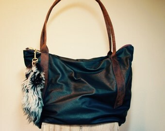 NEW// Oxford Sling in Black Leather with Oil Tanned Brown Leather Tote Straps