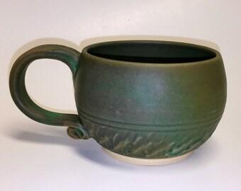 Matte Green Khaki Pottery Mug or Cup - Wheel Thrown Pottery
