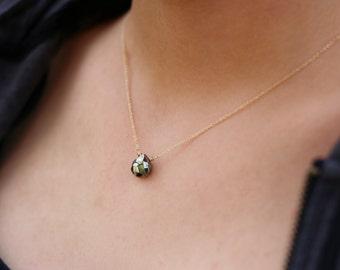 Pyrite Gold Chain Necklace, Minimalist Necklace, Teardrop Gemstone Necklace, 14K Gold fill