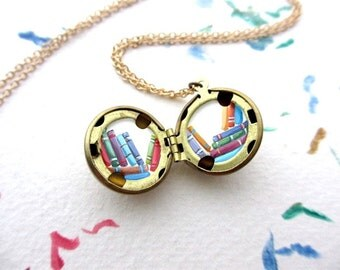 Tiny Locket Art, Oil-Painted Colorful Books, Hand-Painted Miniature