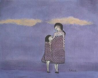 "Girls room purple wall art mother daughter art. giclee digital print girls nursery. little girls room art ""Frocks -  Mae and Bebe"""