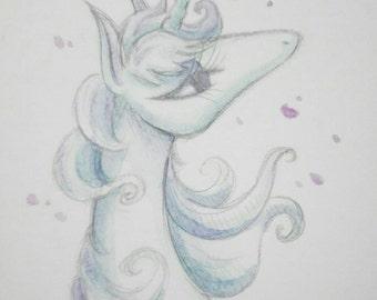 The last unicorn mini watercolor painting