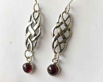 Sterling garnet dangle earrings