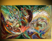 Naive original canvas painting historical person orange red yellow green color thick paint large wall painting Israeli art interior design
