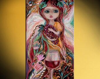Fairies of wine - Merlot signed fantasy art print based on big blue eyed girl original paining Green red yellow rose flowers butterflies
