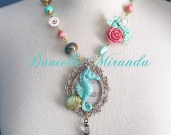SALE Music from the Seahorse Cameo Necklace