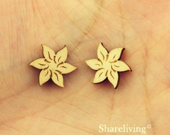 6pcs Wooden Flower Charm, Wood Floral Pendant, DIY Laser Cut Mini Charm, Perfect for Earring  - HWD509Q