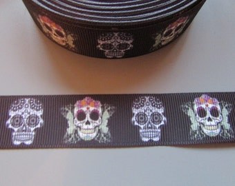 Black Sugar Skull Calaveras Day of the dead Grosgrain Ribbon x 1 metre