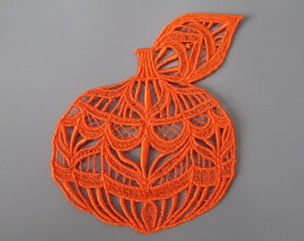Embroidered Lace Pumpkin Applique Patch