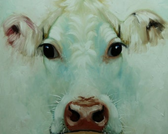 Cow painting 1163 24x24 inch animal original oil painting by Roz