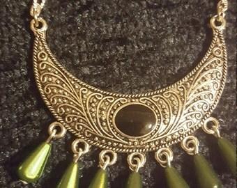 Cresent enamel Necklace - Olive