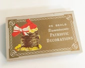 On Reserve for SV  1930 Dennison Patriotic Decorations Seals Still in Original Box   NOS Seals Ephemera Seals Collectible