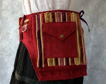 Red chenille utility belt - desert festival utility belt - red purple gold pink fanny pack - steampunk fanny pack pocket belt - XXS