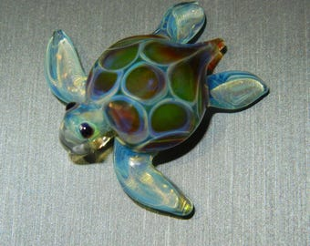 Lampwork Boro Glass Pendant - Focal Bead - Mini SEA TURTLE blue purple