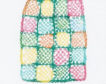 Granny Blanket Gocco Print