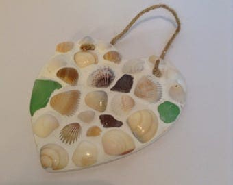 """Seashell Mosaic Heart Seaglass Wallhanging Free Shipping 5""""x5"""" jute hanger Please read entire description before ordering"""
