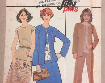 Vintage 70s Sewing Pattern Simplicity 8306 Misses' Jiffy Skirt, Pants, Top, and Jacket  Bust 36 Inches Size 14 Complete