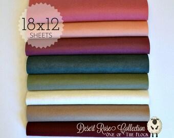 Desert Rose Felt Collection, Merino Wool Blend Felt, Wool Felt Fabric Sheets, Felt Fabric Bundle, Wool Felt Bundles, Felt Collections