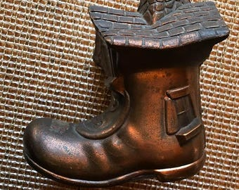 The old woman who lived in the shoe bank copper great funky baby gift patina etc but great vintage item