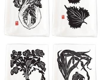 4-Pack Asian Vegetable Flour Sack Kitchen Towels (pack #2)