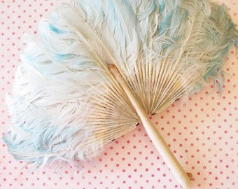 Versailles Garden Party...Glam Vintage Turquoise Feather Fan