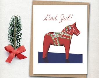 Swedish Christmas Card - Dala Horse Card - Scandavian Christmas - Holiday Card - God Jul - Christmas Card - Swedish Horse
