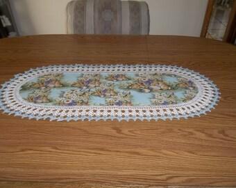 Crocheted Easter Table Runner  Baskets Eggs Bunnies Spring Flowers Fabric Center Crocheted Edge Light Blue Centerpiece Dresser Scarf