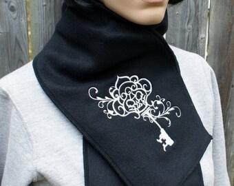 Embroidered Silver Skeleton Key Alpine Fleece Scarf MTCoffinz - Ready to Ship
