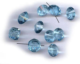 vintage CRYSTAL bead buttons blue CZECH crystal buttons or beads 10mm x 8mm pointy end one DOZEN bridal finding
