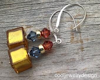 Gold Murano Venetian Glass Swarovski Crystal Sterling Silver Dangle Earrings, Geometric, for Her Under 100