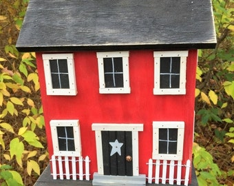 ON SALE Folk Art Rustic Country Primitive Saltbox Home Decor Garden Red Birdhouse