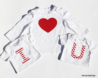 Valentine's Day...I Heart U...Fabric Iron On Appliques... Triplets...Siblings