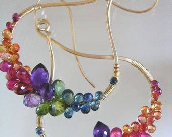 Large Rainbow Gemstone 14k Gold Filled Sculptural Hoops, Wire Wrapped Chandelier Earrings with Amethyst, Sapphires, Spinel, Tourmaline