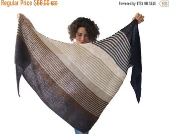 WINTER SALE Hand Knitted Triangle Shawl Brown Navy Blue Beige