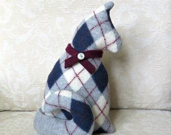 Gray Argyle Plush Cat, Repurposed Sweater Wool Stuffed Kitty Softie