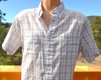 vintage 80s shirt PLAID short sleeve white button down campus hipster XL Large soft towncraft