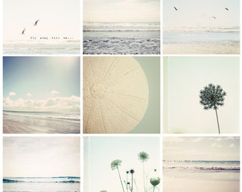 SALE Set of 9 beach mini photographs- beach photo, ocean photography, pale blue, nature photography, beach wall decor, dorm decor