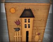 Primitive Spring Saltbox House Bunny Flower Wood Shelf Sitter Block-Home Decor Decoration