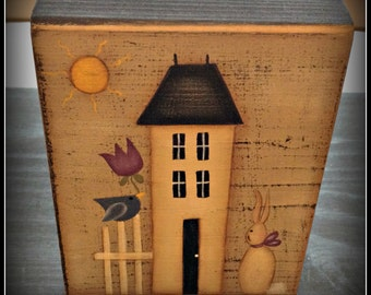 Primitive Spring Saltbox House Bunny Flower Wood Shelf Sitter Block-Home Decor Decoration