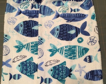 Fish Print Towels set of 2