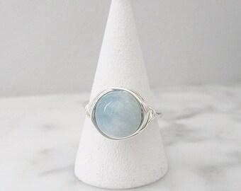Aquamarine ring, Aquamarine wire wrapped ring, 8mm Aquamarine round ring, wire wrapped ring