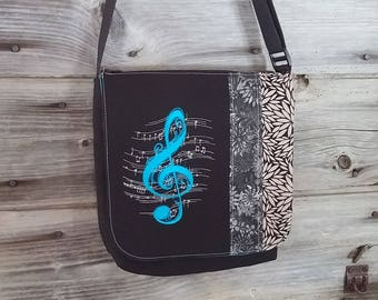 Treble Clef flap for MEDIUM messenger bag, changeable flap collection**FLAP ONLY**