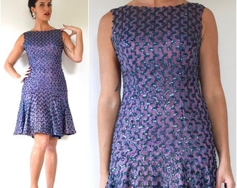 FLASH SALE / 20% off Vintage 60s Violet Mesh Lace Sequined Party Dress (size small, medium)