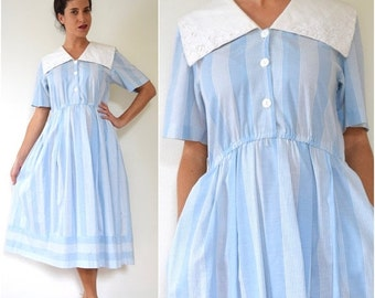 FLASH SALE / 20% off Vintage 90s does 50s Powder Blue Striped Shirt Waist Dress with Sailor Collar (size small, medium)
