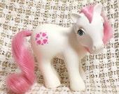 Vintage My Little Pony Sundance MLP Rare G1 1983 Sun Dance White Pony Pink Hair Heart Symbols - No Country